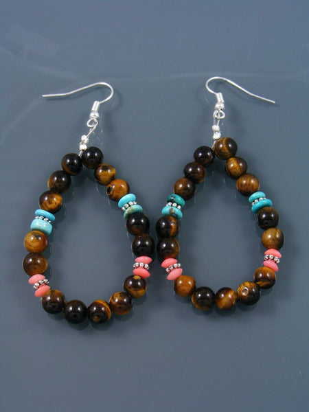 Turquoise and Tiger Eye Beaded Dangle Earrings