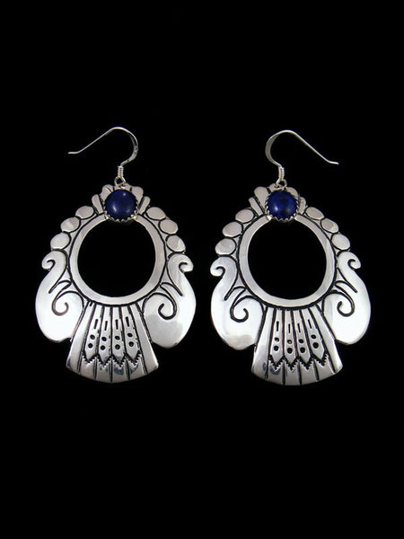 Navajo Sterling Silver Overlay Dangle Lapis Earrings