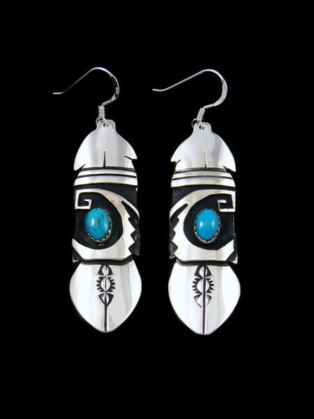 Navajo Sterling Silver Overlay Dangle Turquoise Earrings