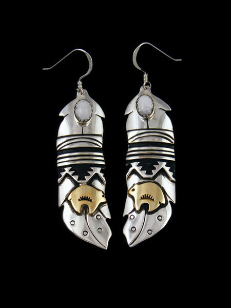 Navajo Sterling Silver and Gold Overlay Bear Dangle White Buffalo Earrings