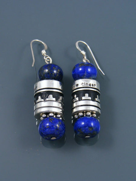 Navajo Lapis Dangle Silver Overlay Bead Earrings