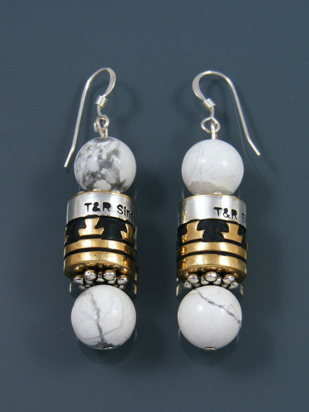 Navajo White Marble Dangle Overlay Bead Earrings