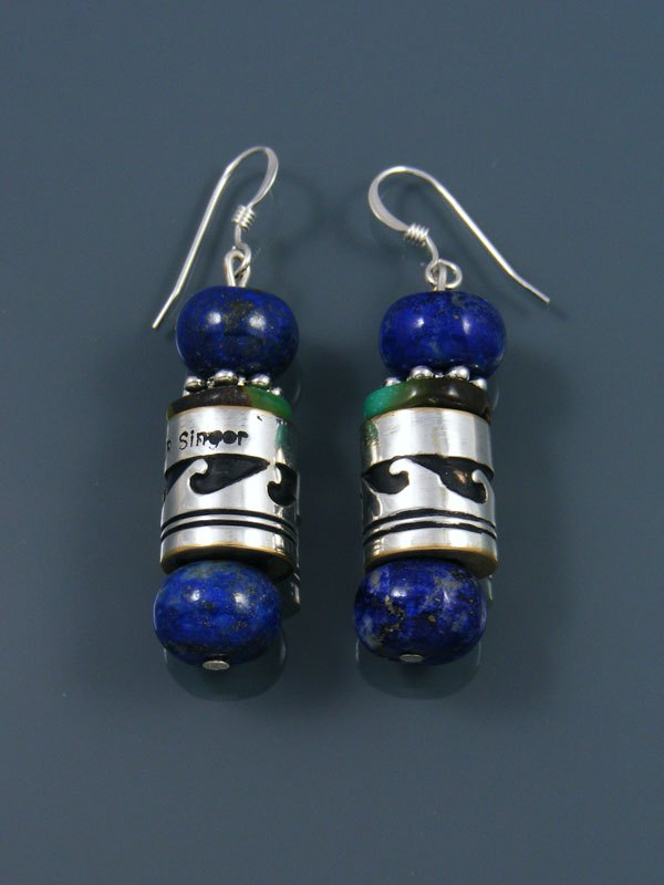 Navajo Lapis And Turquoise Dangle Silver Overlay Bead Earrings By Tommy And Rosita Singer At Pueblodirect Com