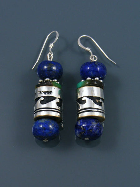 Navajo Lapis and Turquoise Dangle Silver Overlay Bead Earrings