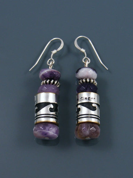 Navajo Amethyst Dangle Overlay Bead Earrings
