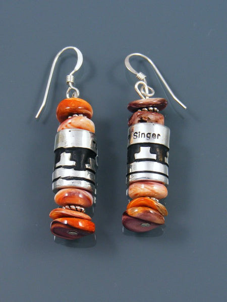 Navajo Spiny Oyster Dangle Overlay Bead Earrings