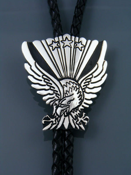 Native American Sterling Silver Eagle Overlay Bolo