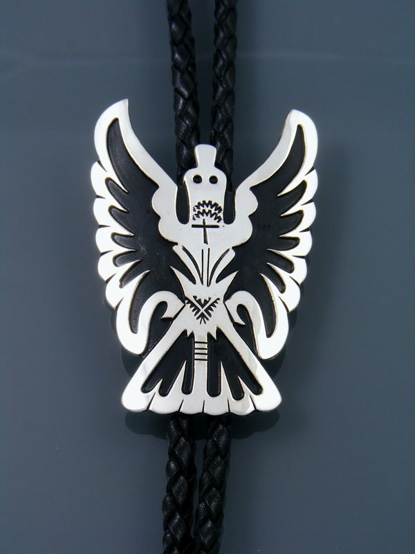 Native American Sterling Silver Waterbird Overlay Bolo