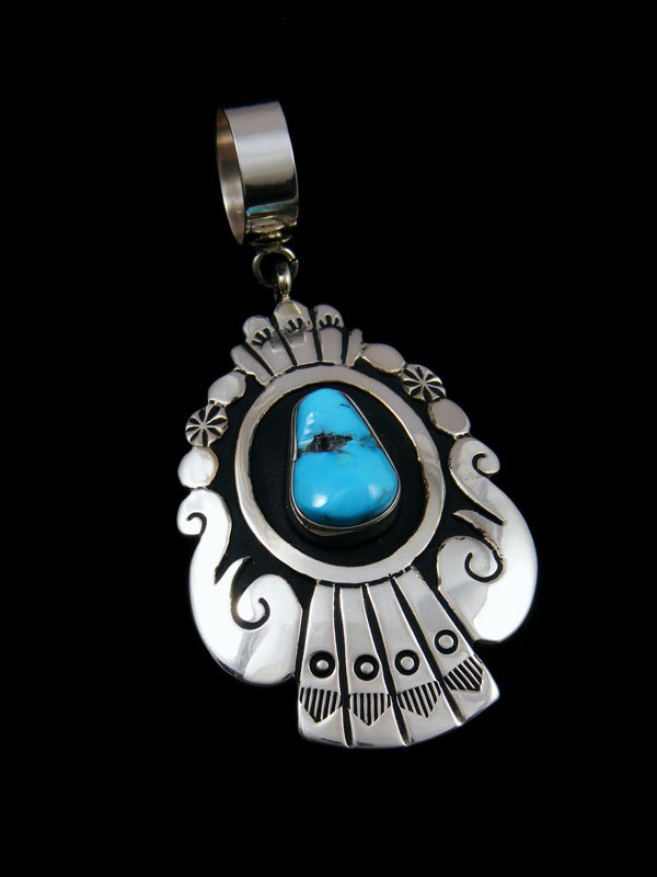Native American Sterling Silver And Sleeping Beauty Turquoise Pendant By Tommy And Rosita Singer At Pueblodirect Com
