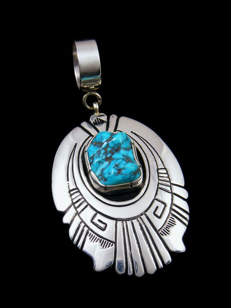 Native American Sterling Silver and Sleeping Beauty Turquoise Pendant