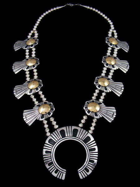 Navajo Sterling Silver and Gold Overlay Squash Blossom Necklace