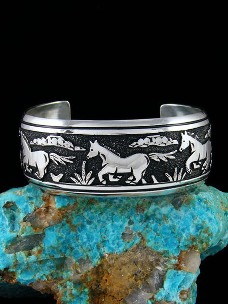 Navajo Sterling Silver Overlay Horse Hand Crafted Cuff Bracelet