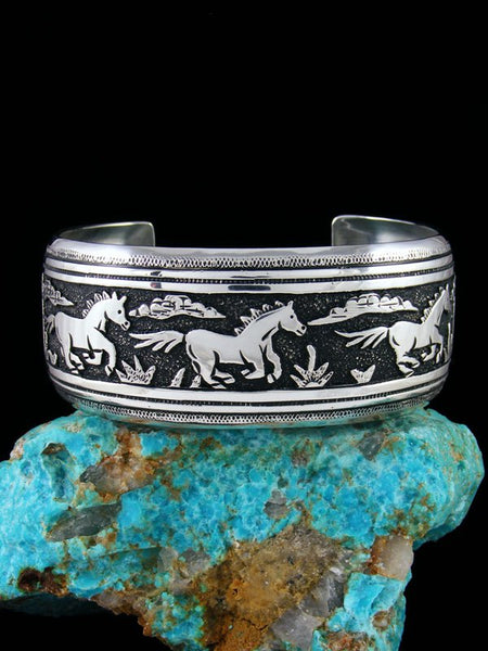 Navajo Sterling Silver Overlay Hand Crafted Horse Cuff Bracelet