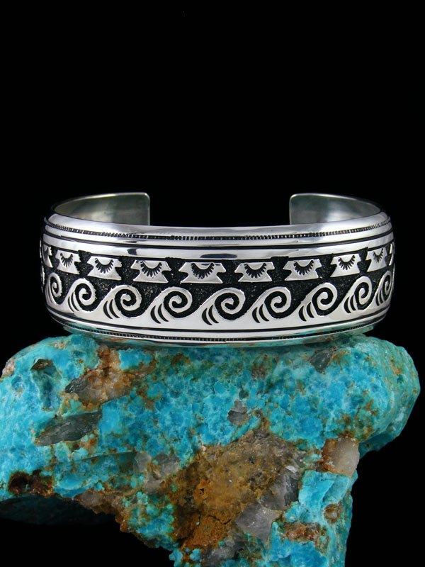 Navajo Sterling Silver Overlay Hand Crafted Cuff Bracelet By Tommy And Rosita Singer At Pueblodirect Com