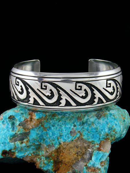 Navajo Sterling Silver Overlay Hand Crafted Cuff Bracelet