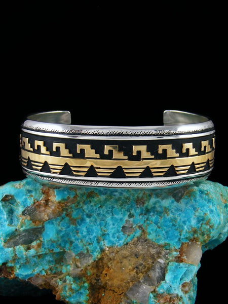 Navajo Sterling Silver and Gold Overlay Hand Crafted Cuff Bracelet