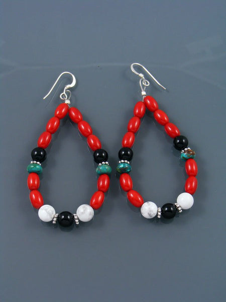 Coral and Turquoise Beaded Dangle Earrings