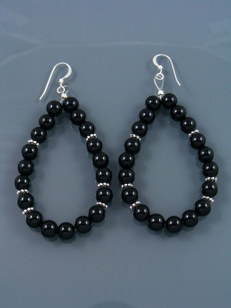 Onyx Beaded Dangle Earrings
