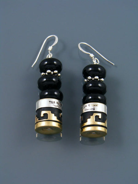 Black Onyx Dangle Overlay Bead Earrings