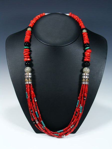Coral and Turquoise Multi Strand Beaded Necklace