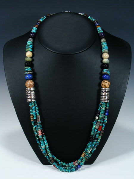 Apple Coral and Turquoise Multi Strand Beaded Necklace