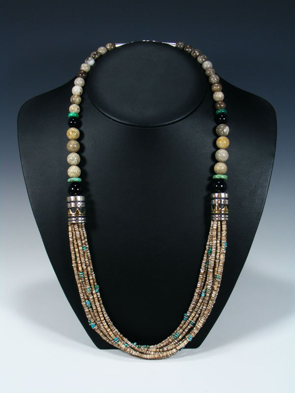 Shell Heishi and Turquoise Multi Strand Beaded Necklace