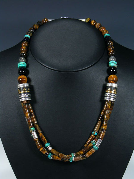 Tiger Eye and Turquoise Multi Strand Bead Necklace