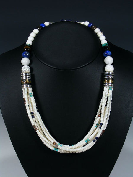 White Marble and Turquoise Multi Strand Bead Necklace