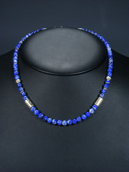 "18"" Lapis Single Strand Choker Bead Necklace"