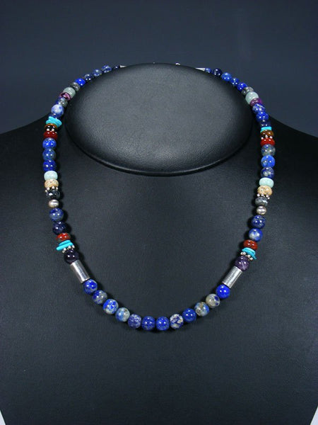 "20"" Single Strand Beaded Lapis Necklace"