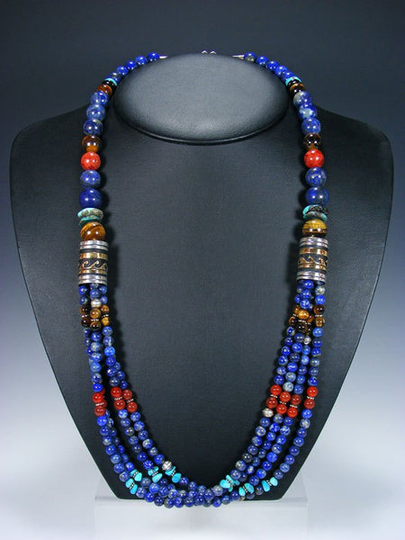 "Lapis and Turquoise Multi Strand 30"" Beaded Necklace"