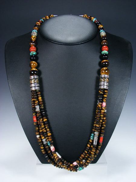 Tiger Eye and Turquoise Long Multi Strand Bead Necklace