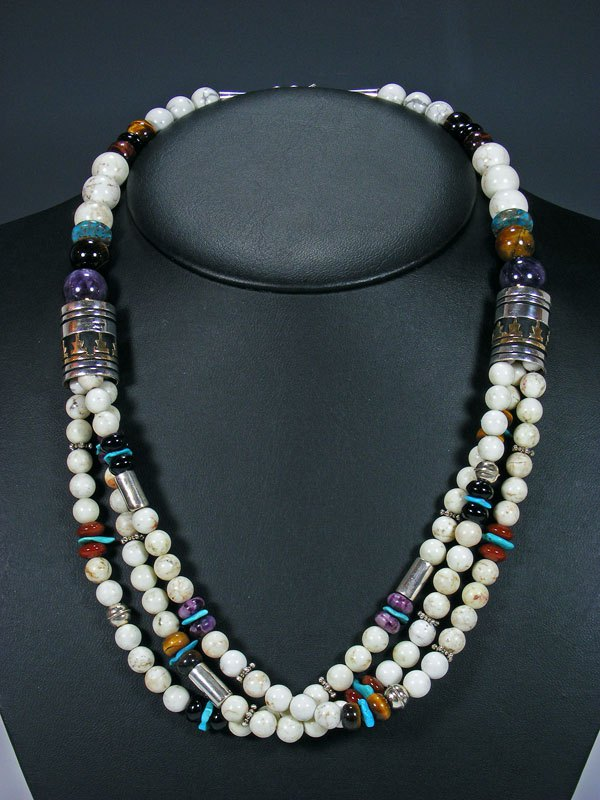 "24"" White Marble Multi Strand Bead Necklace"