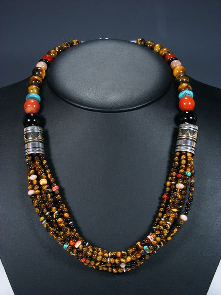 "24"" Tiger's Eye Multi Strand Bead Necklace"