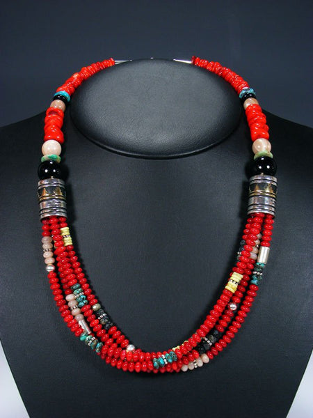 "24"" Dyed Bamboo Coral Multi Strand Bead Necklace"