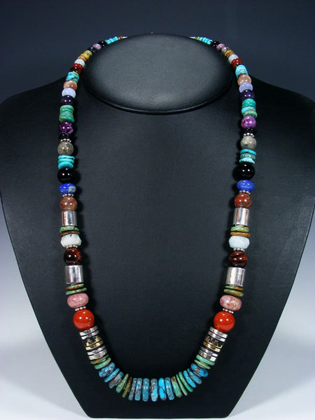 "Turquoise Long Single Strand 28"" Beaded Necklace"