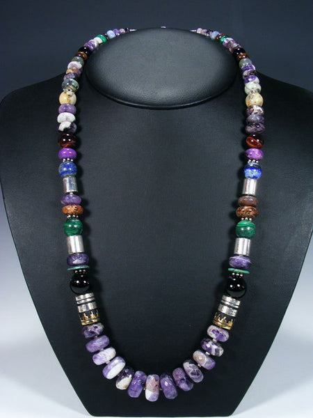 "Amethyst Long Single Strand 28"" Beaded Necklace"