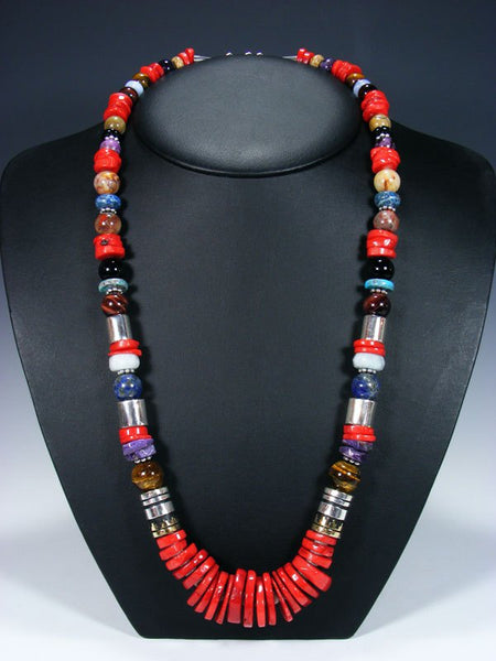 "Bamboo Coral Long Single Strand 28"" Beaded Necklace"