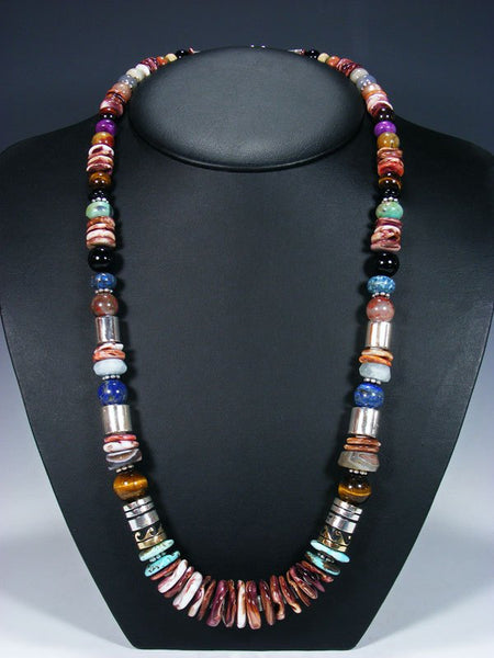"Spiny Oyster Long Single Strand 28"" Beaded Necklace"