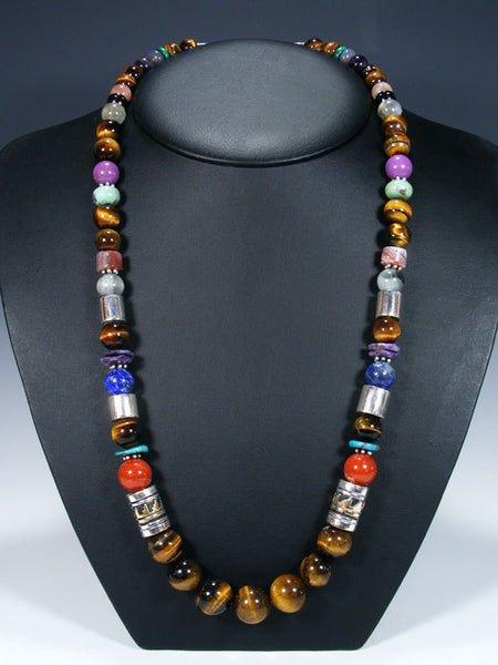 "Tiger's Eye Long Single Strand 28"" Beaded Necklace"