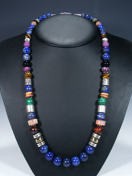 "Lapis Long Single Strand 28"" Beaded Necklace"