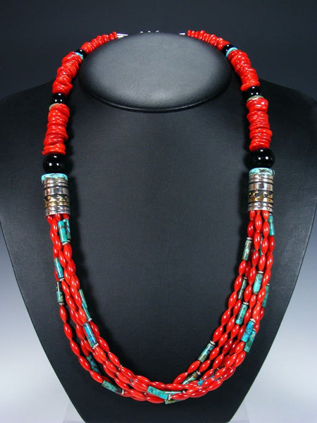 "Bamboo Coral and Turquoise 30"" Multi Strand Beaded Necklace"
