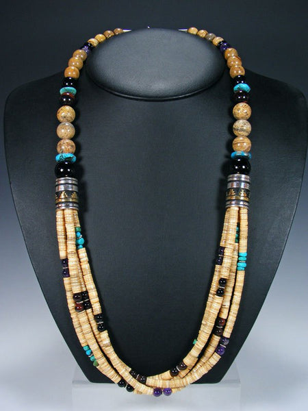 "Jasper and Turquoise 30"" Multi Strand Beaded Necklace"