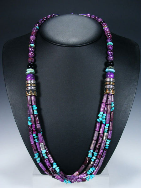 "Dyed Jasper and Turquoise 30"" Multi Strand Beaded Necklace"