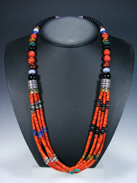 "Apple Coral and Black Onyx 30"" Multi Strand Beaded Necklace"