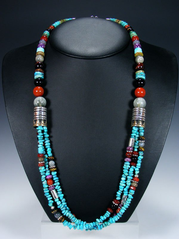 "Turquoise Multi Strand 30"" Beaded Necklace"