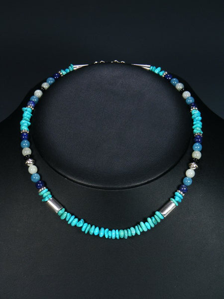 "Turquoise 16"" Single Strand Choker Bead Necklace"