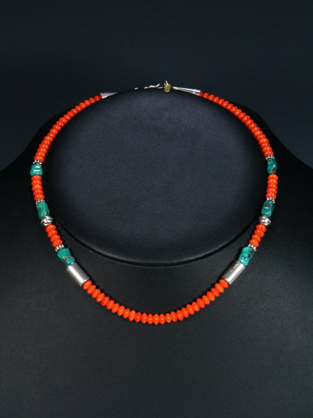 "Coral and Turquoise 16"" Single Strand Choker Bead Necklace"