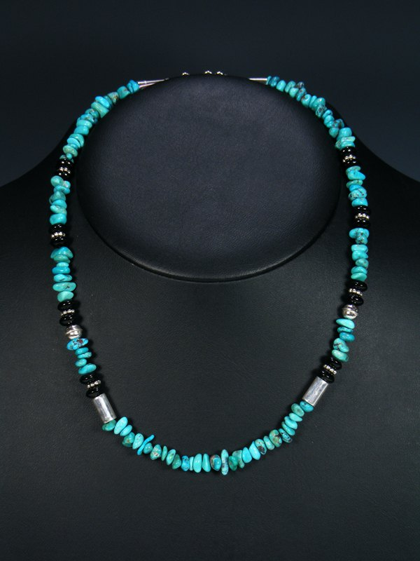"Turquoise and Black Onyx 20"" Single Strand Choker Bead Necklace"