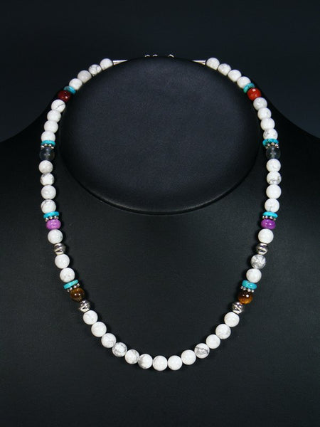 "White Marble 20"" Single Strand Choker Bead Necklace"